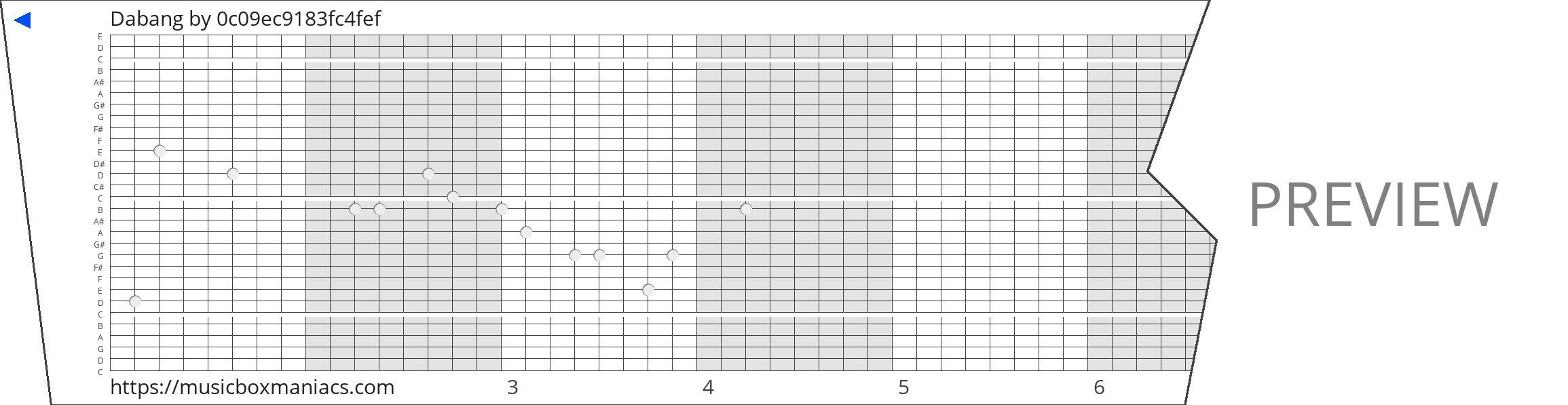 Dabang 30 note music box paper strip