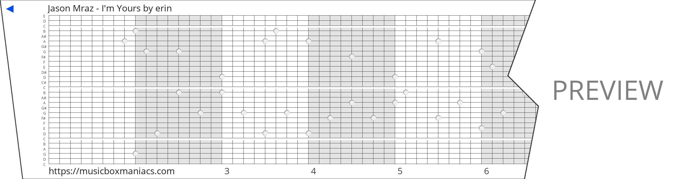 Jason Mraz - I'm Yours 30 note music box paper strip