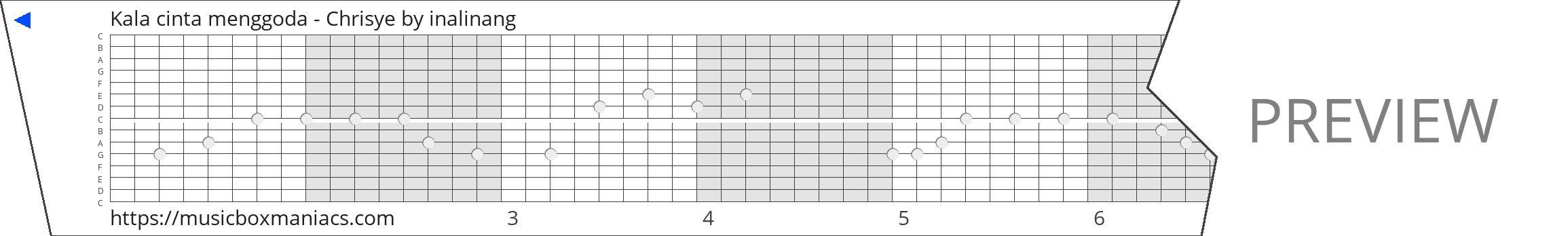 Kala cinta menggoda - Chrisye 15 note music box paper strip