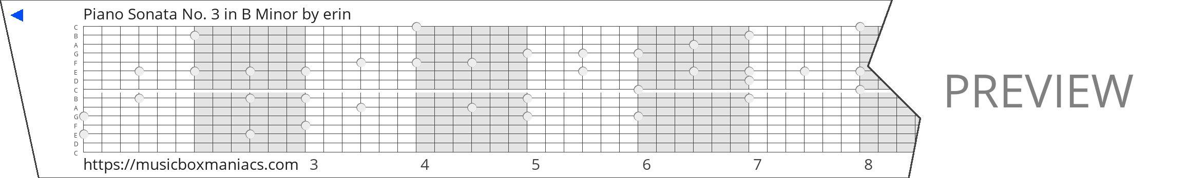 Piano Sonata No. 3 in B Minor 15 note music box paper strip