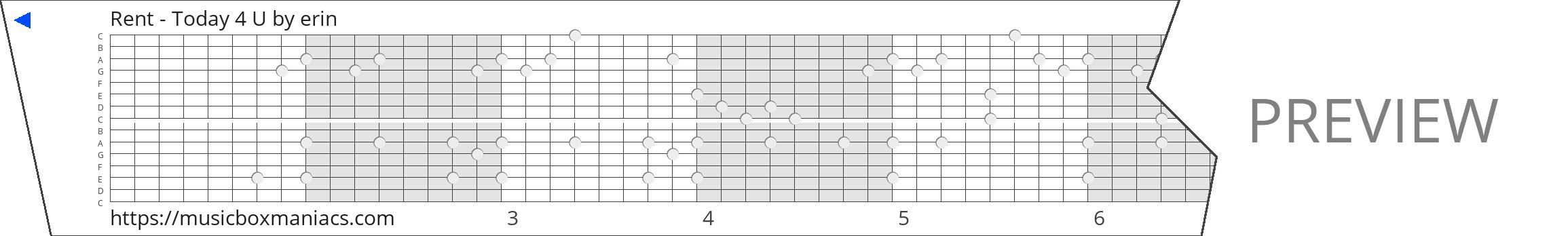 Rent - Today 4 U 15 note music box paper strip
