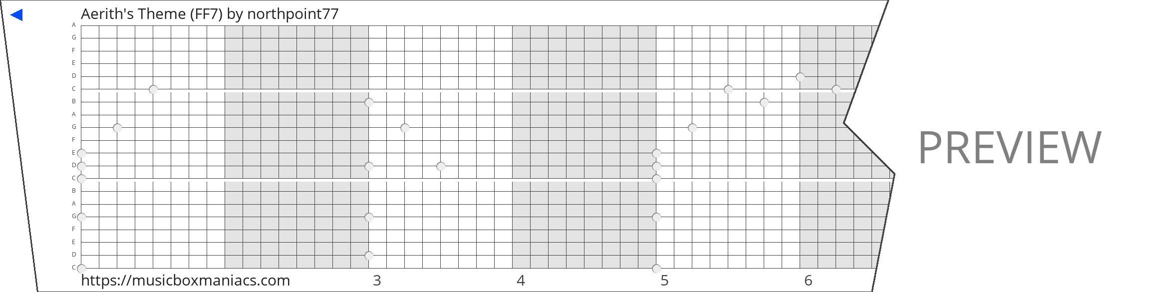 Aerith's Theme (FF7) 20 note music box paper strip