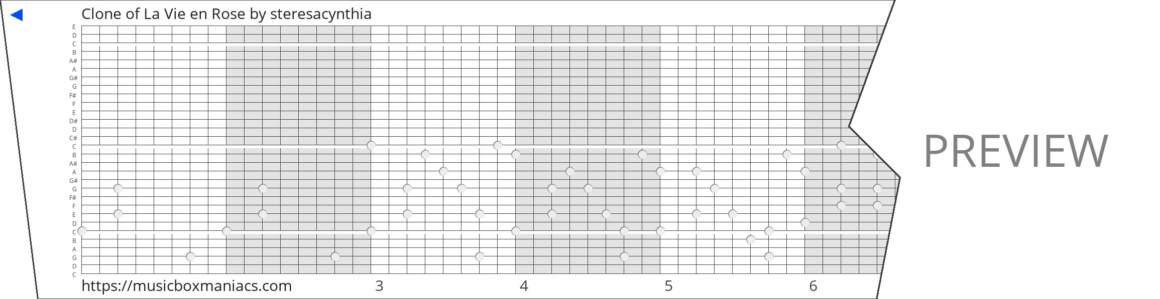 Clone of La Vie en Rose 30 note music box paper strip