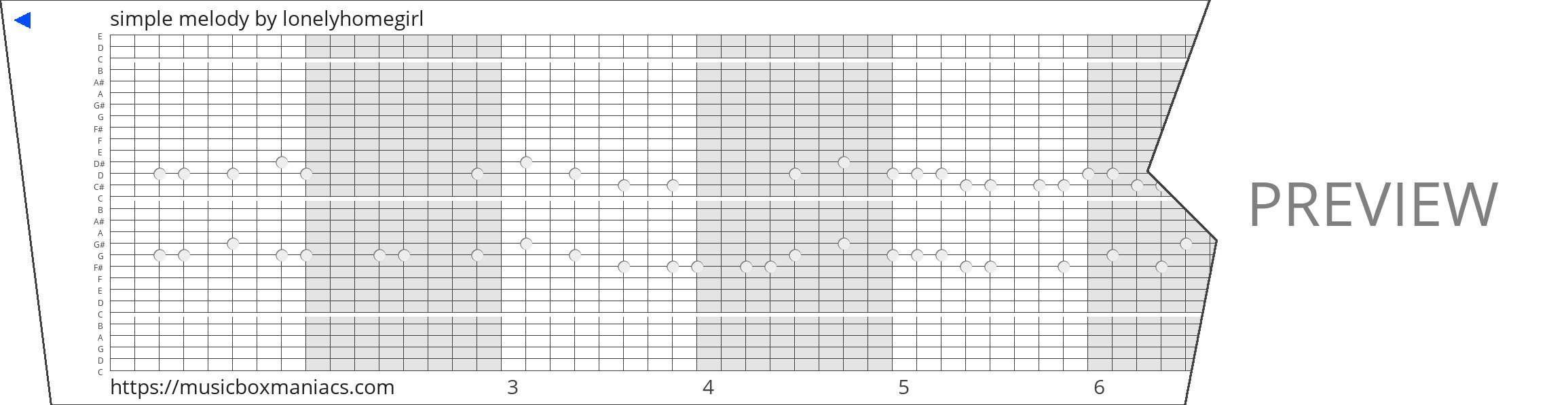 simple melody 30 note music box paper strip