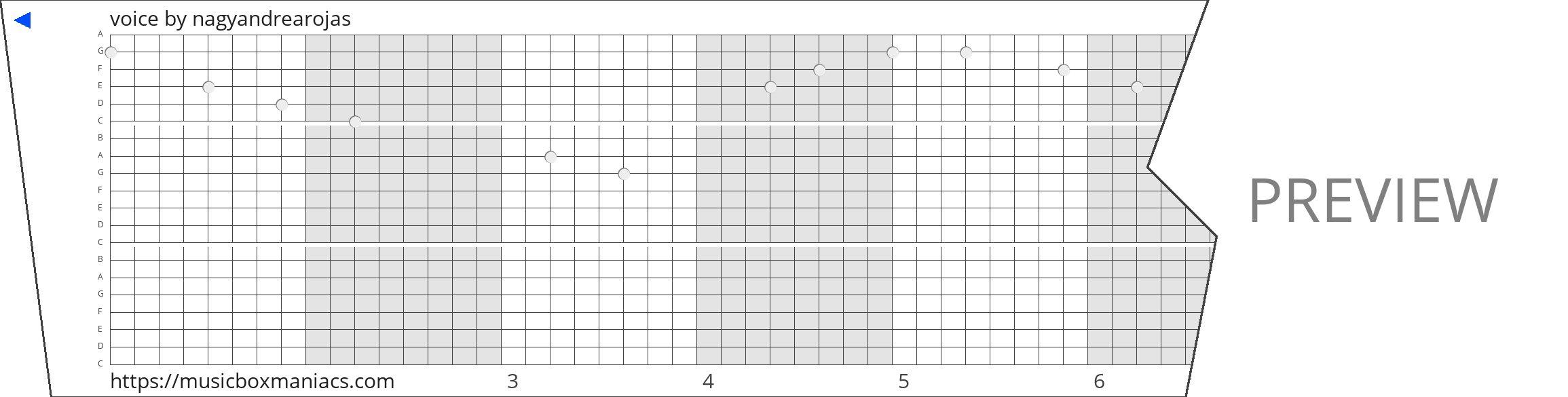 voice 20 note music box paper strip