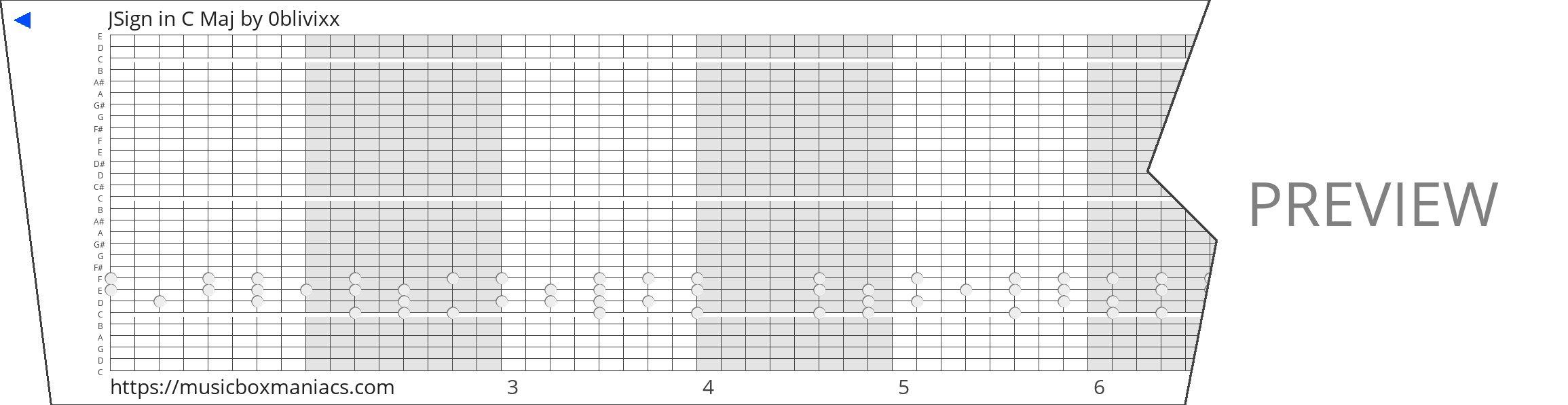 JSign in C Maj 30 note music box paper strip