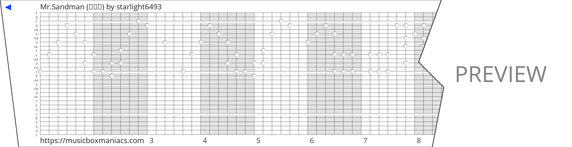 Mr.Sandman (빠르게) 30 note music box paper strip