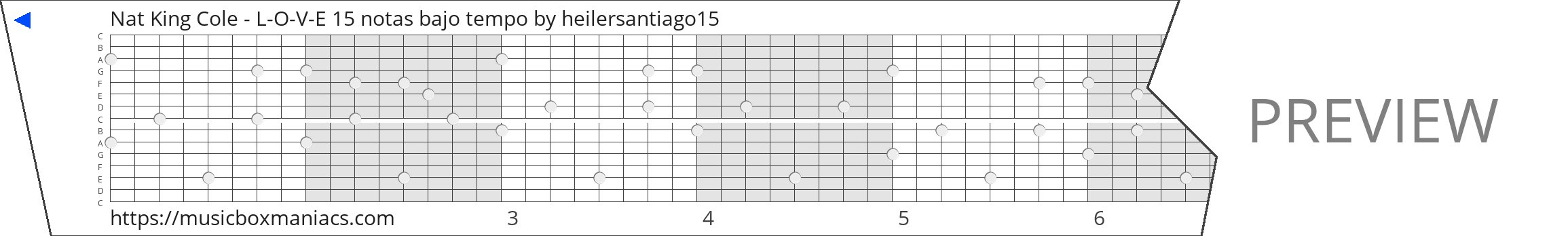 Nat King Cole - L-O-V-E 15 notas bajo tempo 15 note music box paper strip