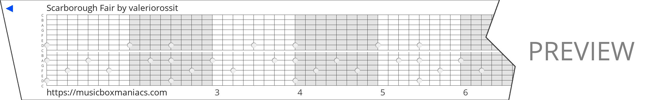 Scarborough Fair 15 note music box paper strip