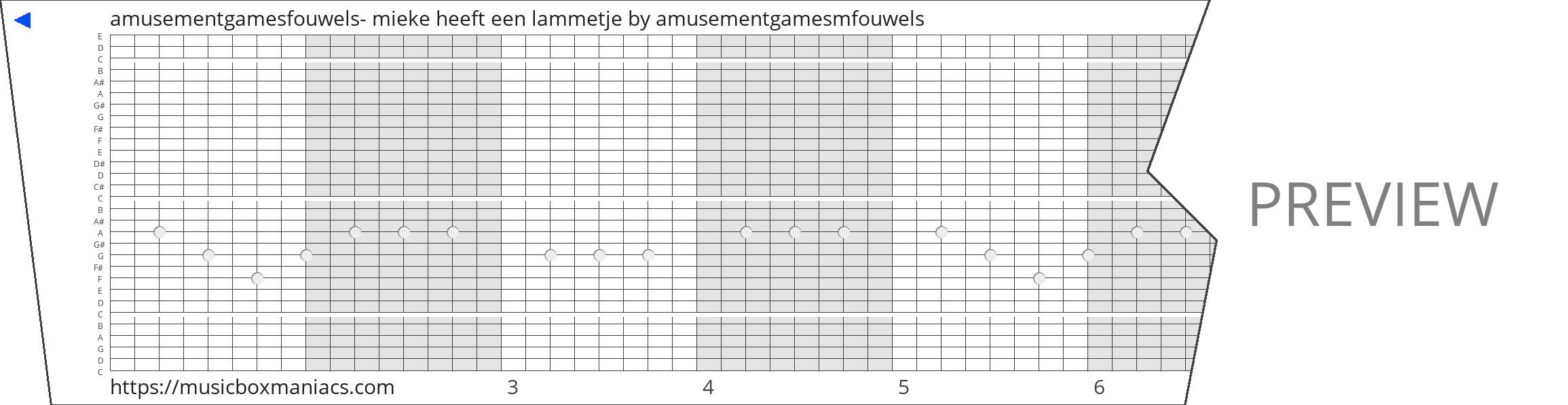 amusementgamesfouwels- mieke heeft een lammetje 30 note music box paper strip