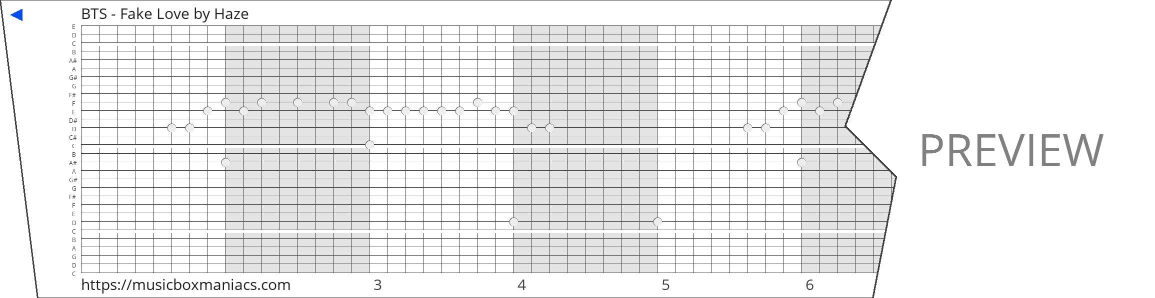 BTS - Fake Love 30 note music box paper strip