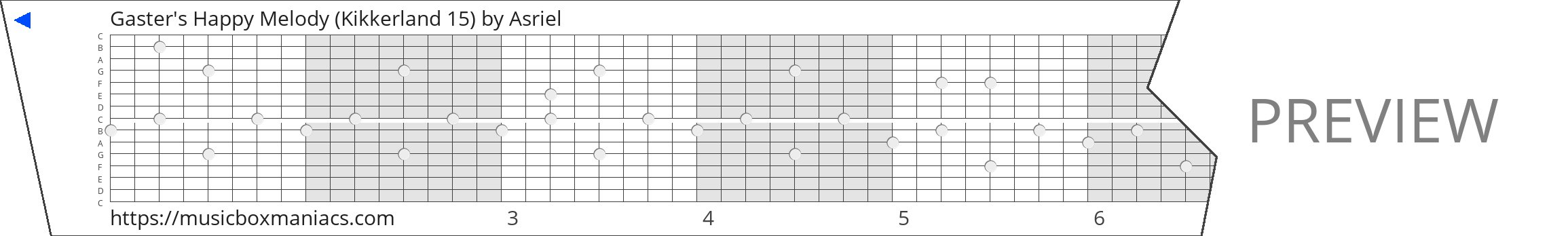 Gaster's Happy Melody (Kikkerland 15) 15 note music box paper strip