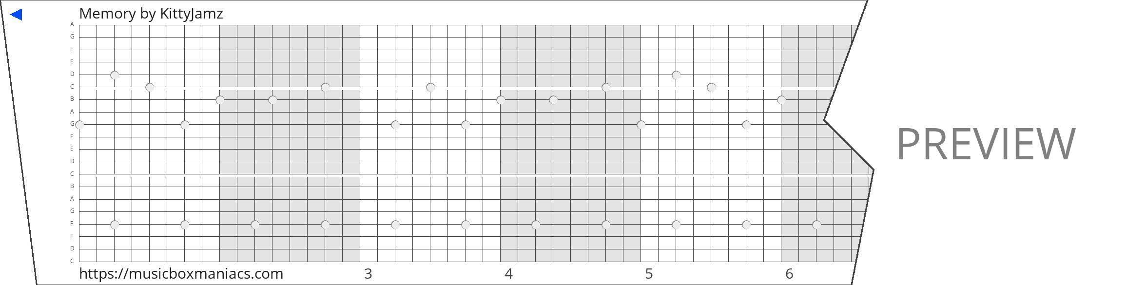 Memory 20 note music box paper strip