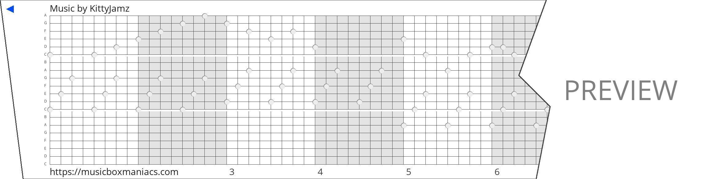 Music 20 note music box paper strip