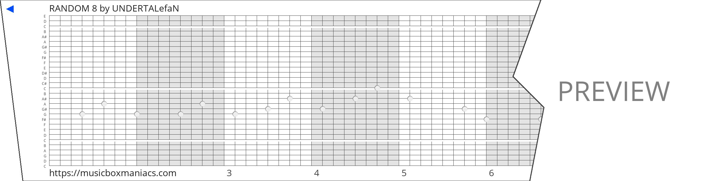 RANDOM 8 30 note music box paper strip