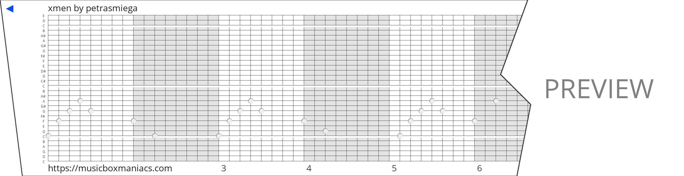 xmen 30 note music box paper strip