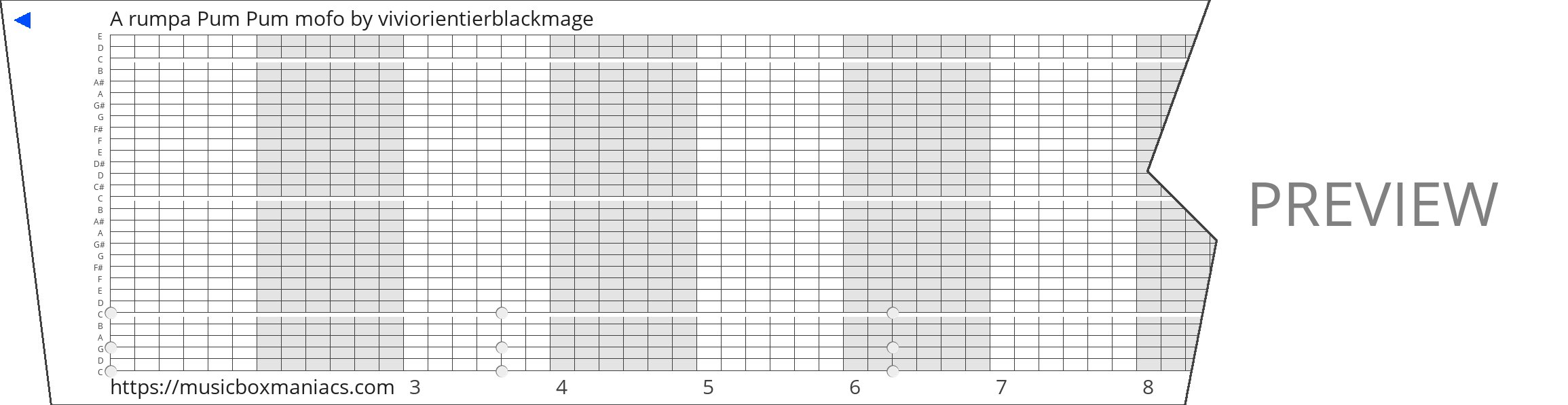 A rumpa Pum Pum mofo 30 note music box paper strip