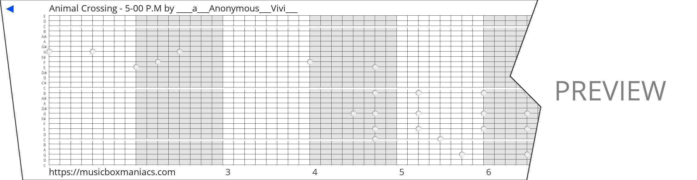 Animal Crossing - 5-00 P.M 30 note music box paper strip
