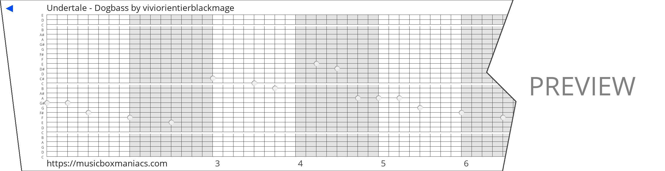 Undertale - Dogbass 30 note music box paper strip