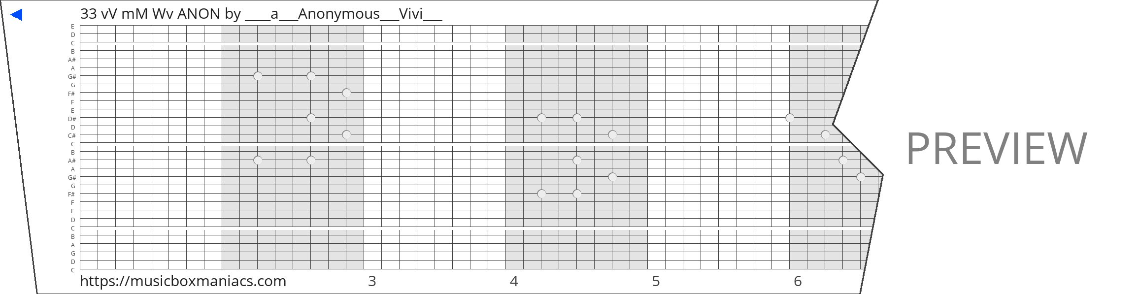 33 vV mM Wv ANON 30 note music box paper strip