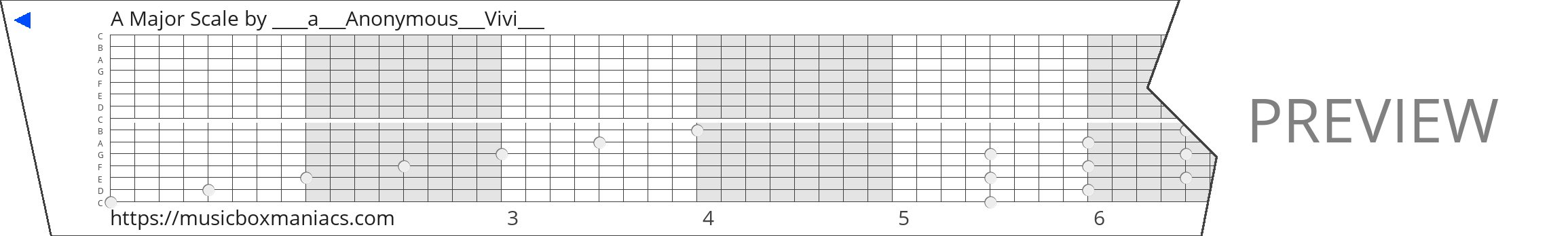 A Major Scale 15 note music box paper strip