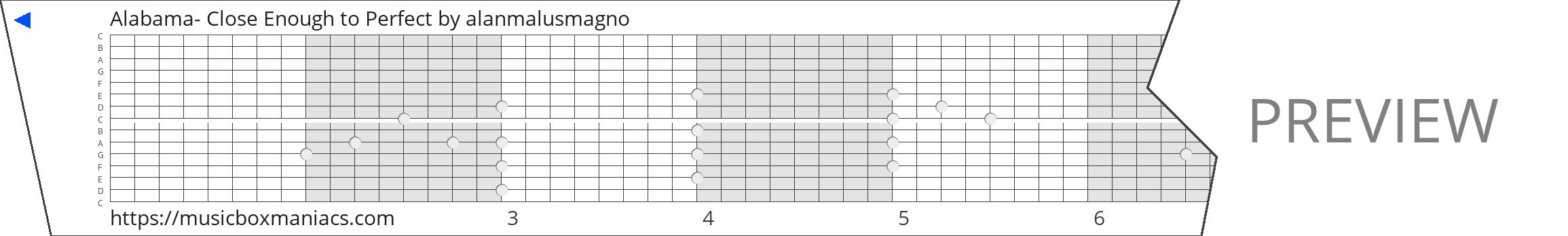 Alabama- Close Enough to Perfect 15 note music box paper strip
