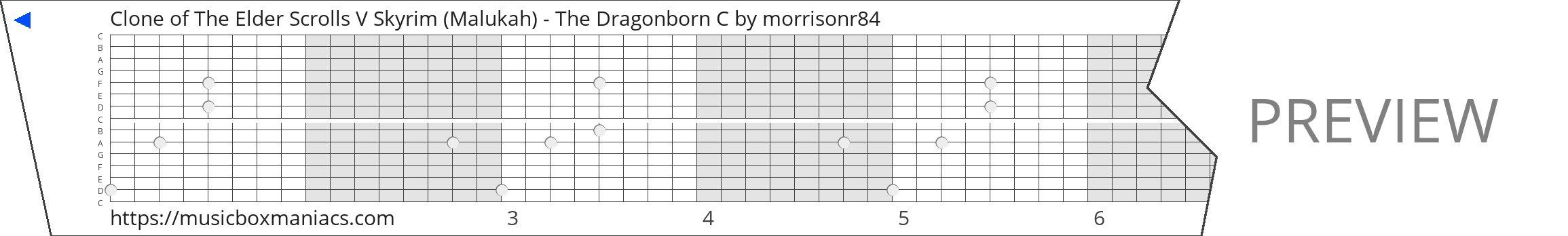 Clone of The Elder Scrolls V Skyrim (Malukah) - The Dragonborn C 15 note music box paper strip