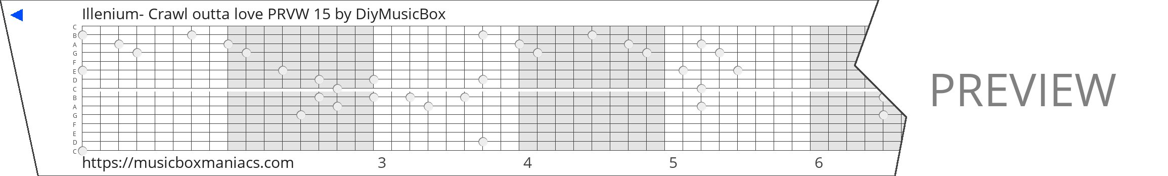 Illenium- Crawl outta love PRVW 15 15 note music box paper strip