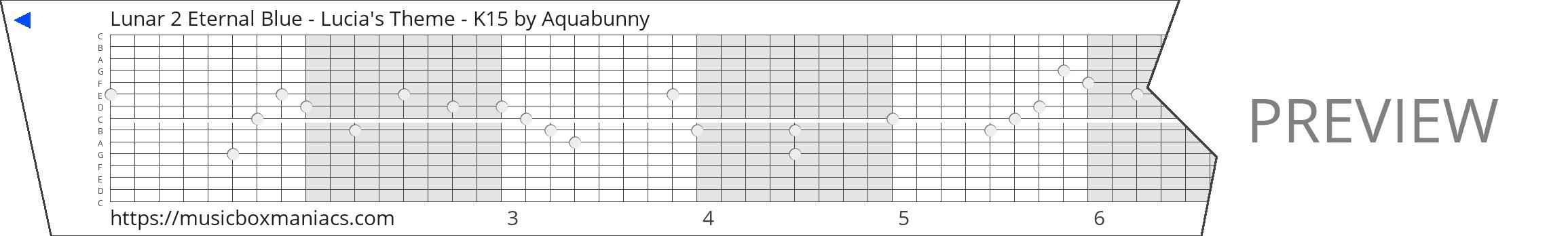 Lunar 2 Eternal Blue - Lucia's Theme - K15 15 note music box paper strip