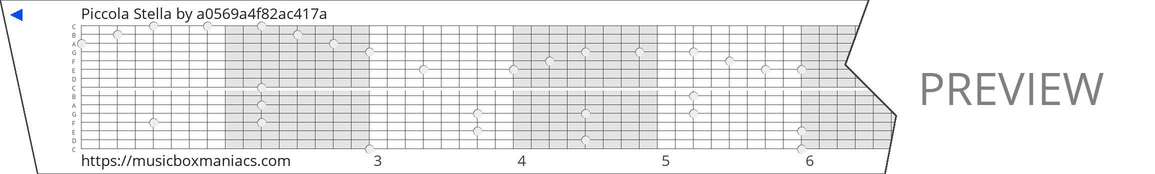 Piccola Stella 15 note music box paper strip