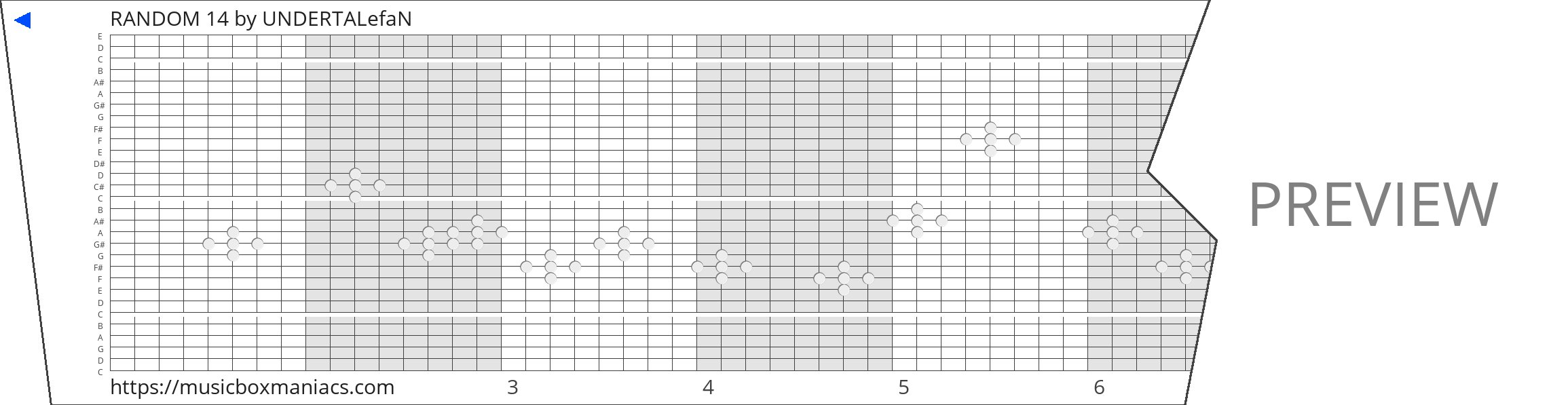 RANDOM 14 30 note music box paper strip