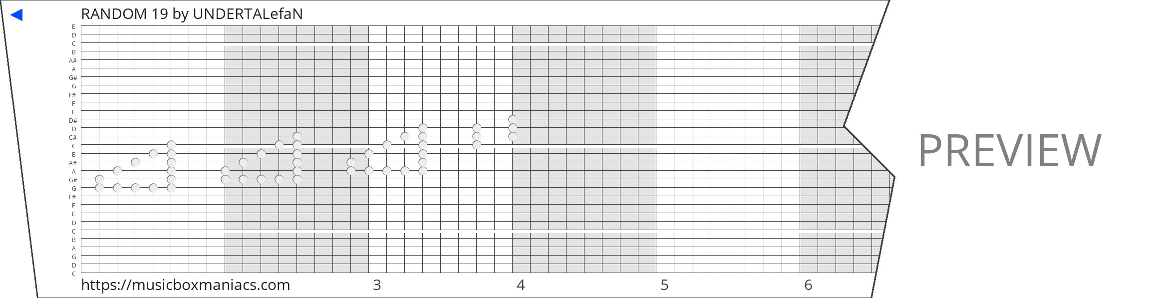 RANDOM 19 30 note music box paper strip
