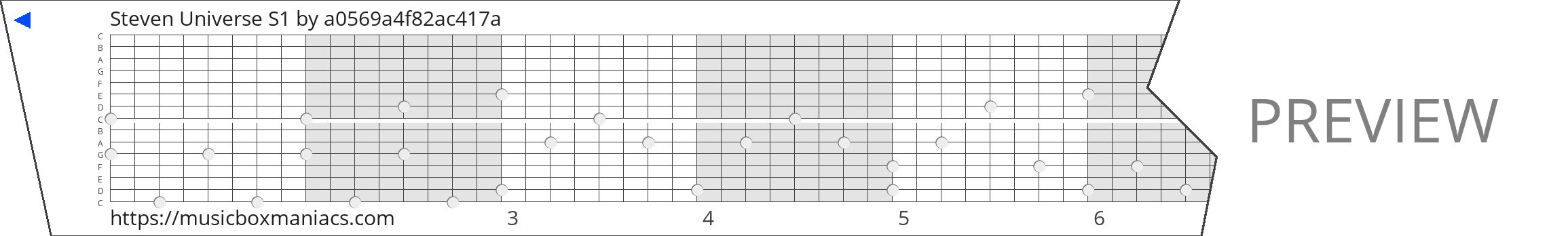 Steven Universe S1 15 note music box paper strip