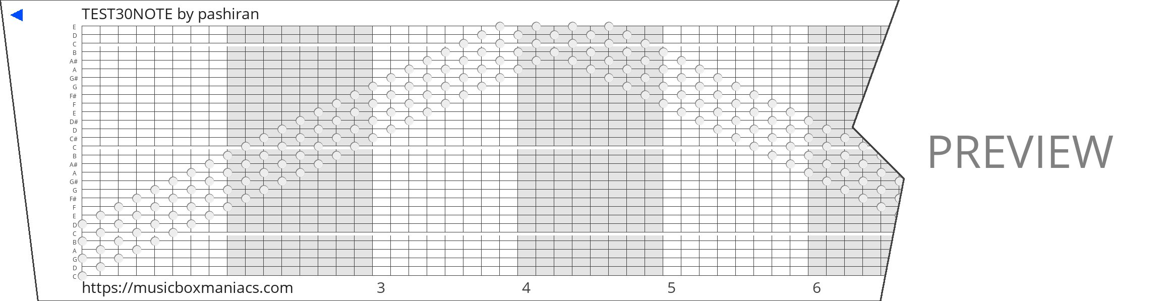 TEST30NOTE 30 note music box paper strip