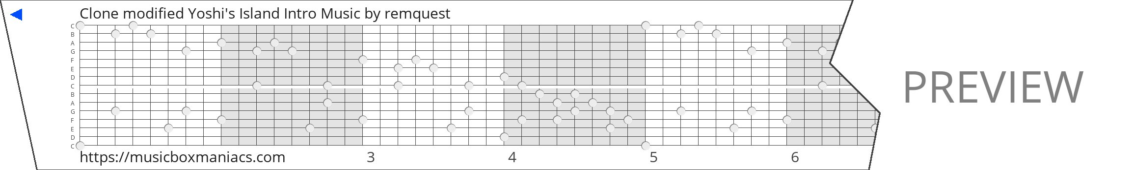 Clone modified Yoshi's Island Intro Music 15 note music box paper strip