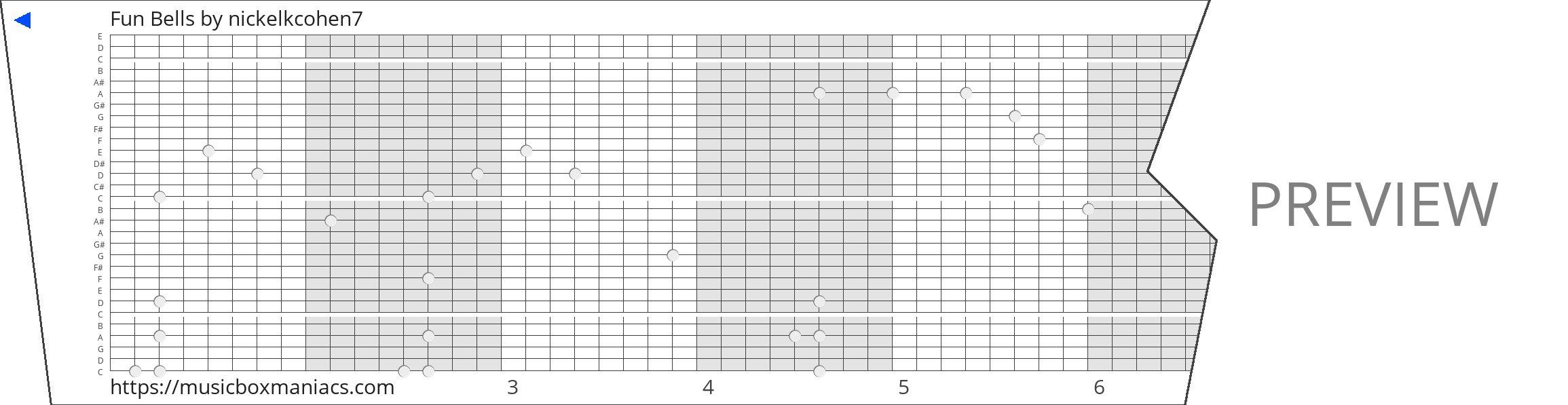 Fun Bells 30 note music box paper strip