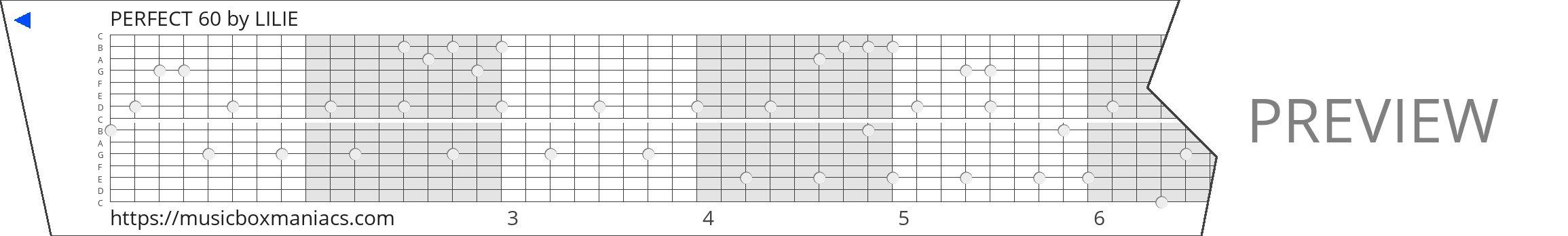PERFECT 60 15 note music box paper strip