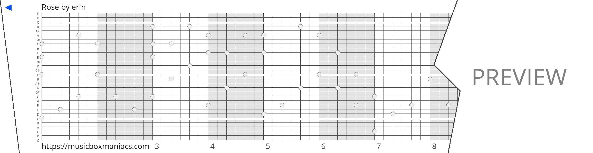 Rose 30 note music box paper strip