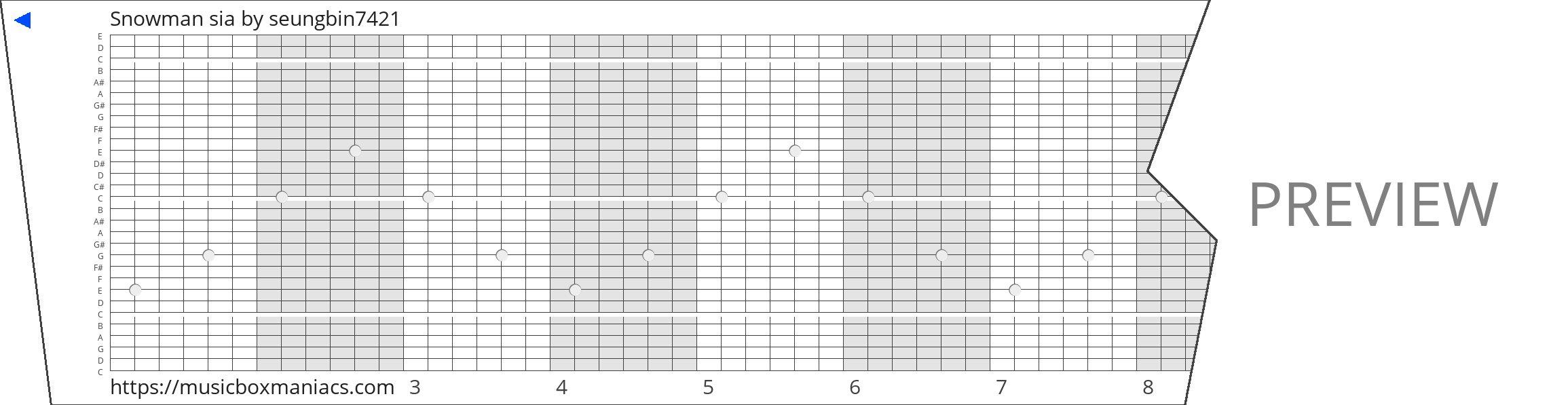 Snowman sia 30 note music box paper strip