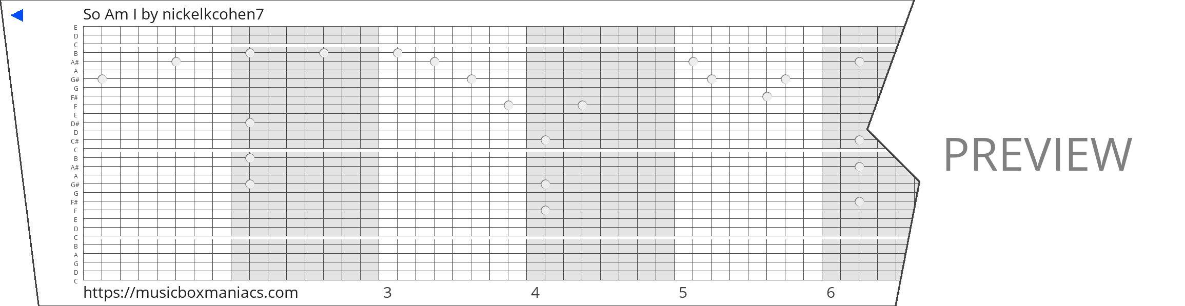 So Am I 30 note music box paper strip