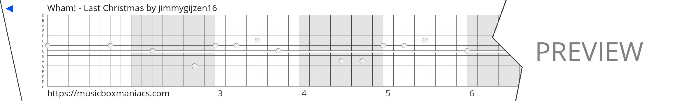 Wham! - Last Christmas 15 note music box paper strip