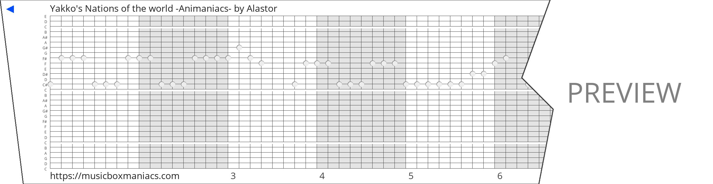 Yakko's Nations of the world -Animaniacs- 30 note music box paper strip