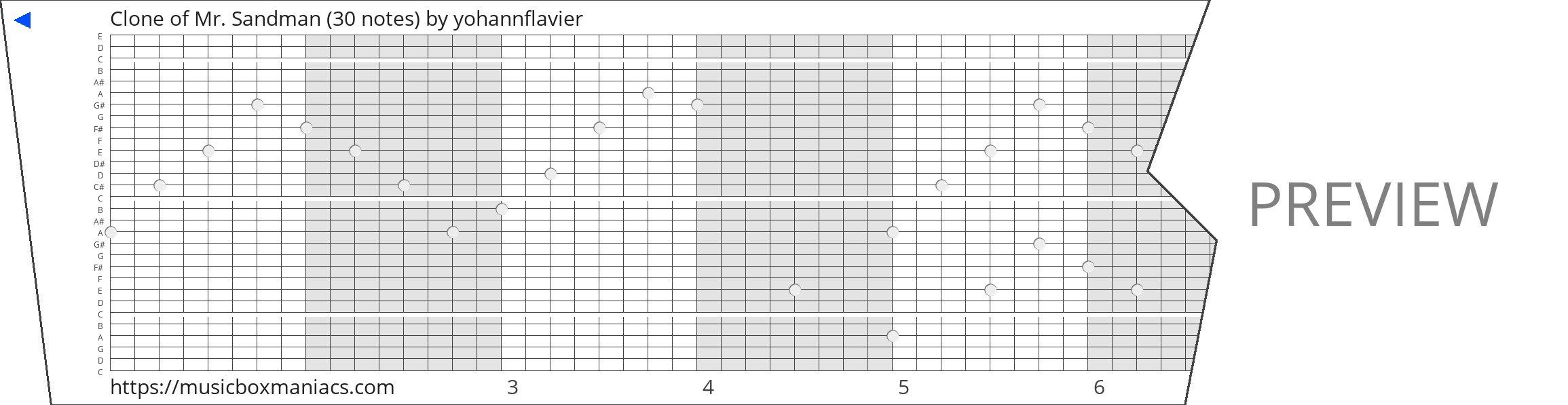 Clone of Mr. Sandman (30 notes) 30 note music box paper strip