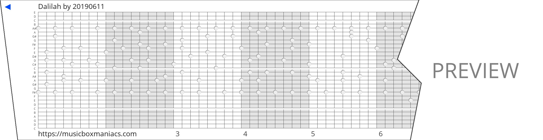 Dalilah 30 note music box paper strip