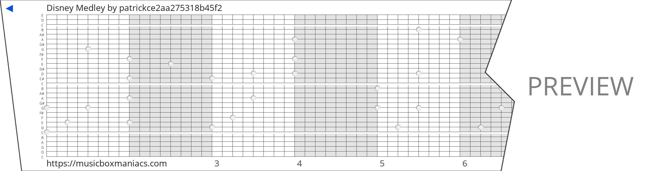 Disney Medley 30 note music box paper strip