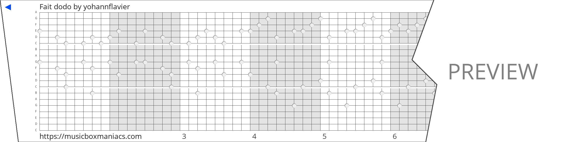 Fait dodo 20 note music box paper strip