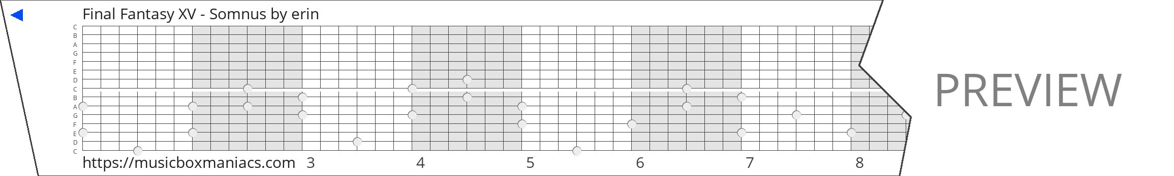 Final Fantasy XV - Somnus 15 note music box paper strip
