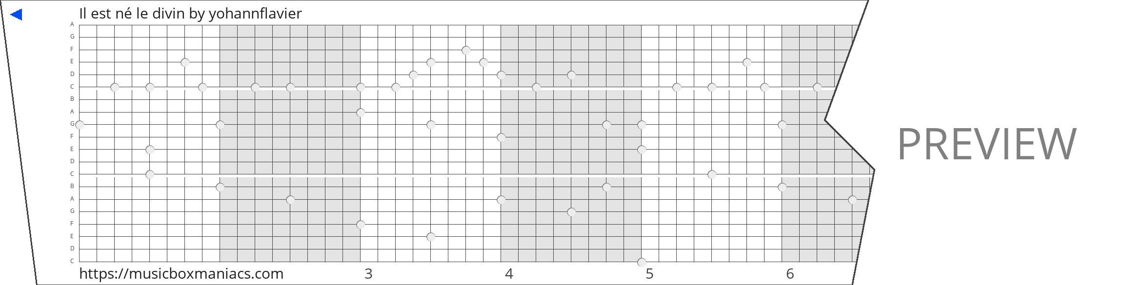 Il est né le divin 20 note music box paper strip