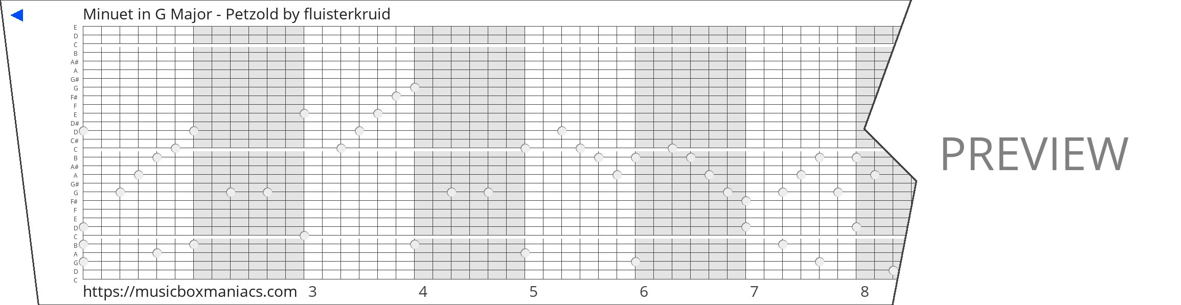 Minuet in G Major - Petzold 30 note music box paper strip