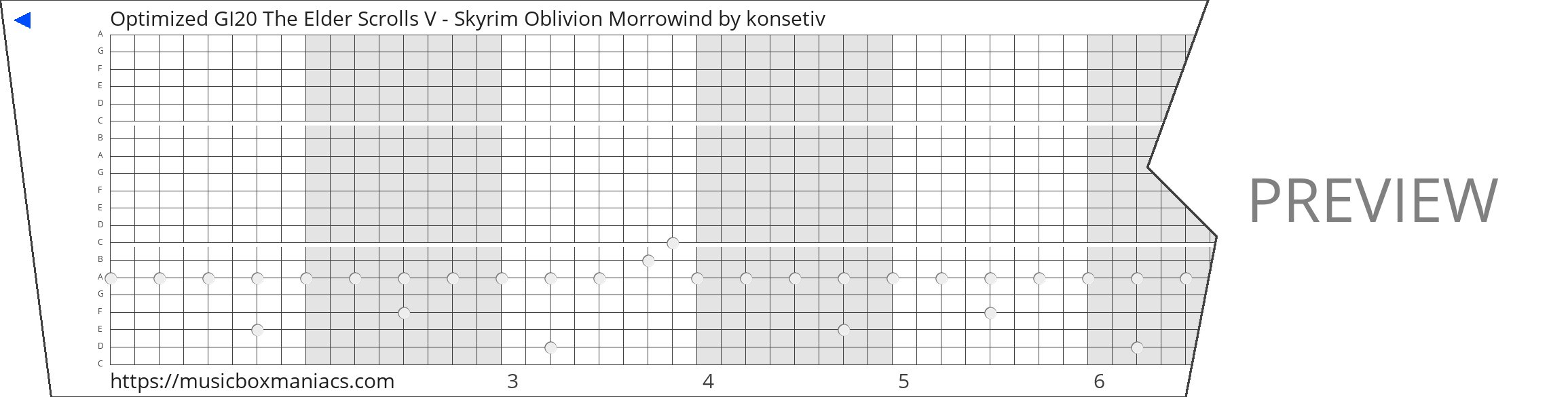 Optimized GI20 The Elder Scrolls V - Skyrim Oblivion Morrowind 20 note music box paper strip